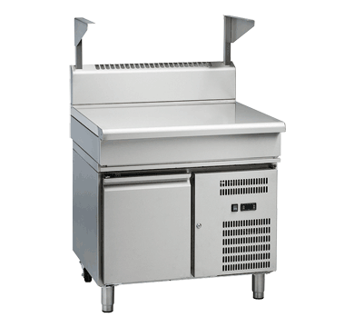 waldorf 800 series bt8900s-rb - 900mm bench top with salamander support  refrigerated base