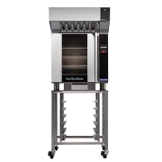 turbofan e32t4 - full size electric convection oven touch screen control on a stainless steel stand