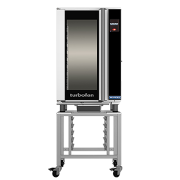 turbofan eht10-l and skeht10 stand - 10 half size sheet pan touch screen electric humidified holding cabinet on a stainless steel stand