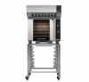 turbofan e32d4 - full size sheet pan digital electric convection oven with halton ventless hood on a stainless steel stand