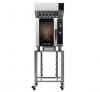 turbofan e33d5 - full size tray digital electric convection oven with halton ventless hood on a stainless steel stand