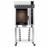 turbofan e35d6-30 - full size digital / electric convection ovens with halton ventless hood on a stainless steel stand