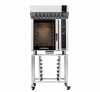 turbofan e35d6-26 - full size digital / electric convection oven with halton ventless hood on a stainless steel stand