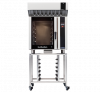 turbofan e35t6-30 - full size electric convection oven touch screen control with halton ventless hood on a stainless steel stand
