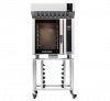 turbofan e35t6-26 - full size electric convection oven touch screen control with halton ventless hood on a stainless steel stand