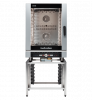 turbofan ec40d10 and sk40-10a - full size 10 tray digital / electric combi oven on a stainless steel stand cooking