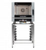 turbofan ec40d5 and sk40a - full size 5 tray digital / electric combi oven on a stainless steel stand cooking
