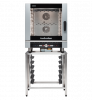 turbofan ec40d7 and sk40 - full size 7 tray digital / electric combi oven on a stainless steel stand cooking