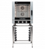 turbofan ec40m7 and sk40a - full size 7 tray manual / electric combi oven on a stainless steel stand cooking